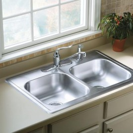 Sterling 33″x22″ Stainless Steel PRO33226-5F Drop-in Double Bowl Kitchen Sink